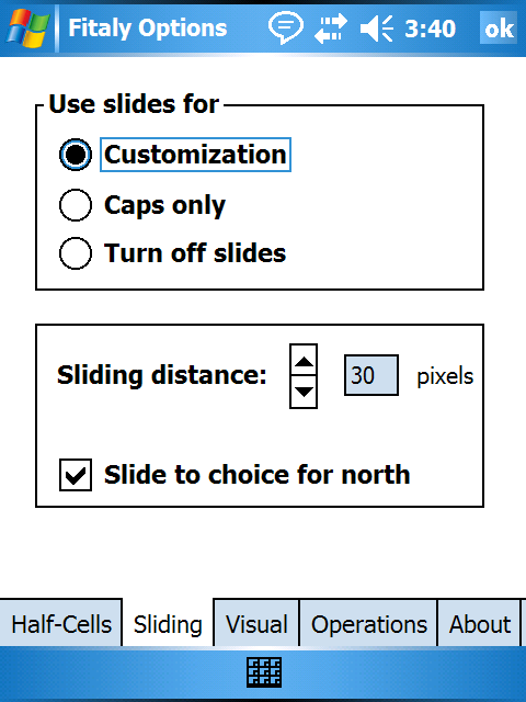 Sliding options